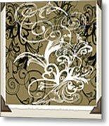 Coffee Flowers 1 Olive Scrapbook Metal Print