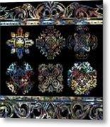 Coffee Flowers Ornate Medallions 6 Piece Collage Aurora Borealis Metal Print