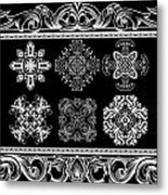 Coffee Flowers Ornate Medallions Bw 6 Piece Collage Framed  Metal Print