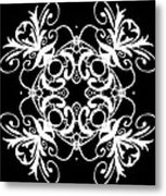 Coffee Flowers Ornate Medallions Bw Vertical Tryptych 2 Metal Print