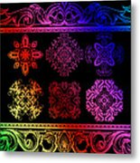 Coffee Flowers Ornate Medallions Color 6 Piece Collage 2 Metal Print