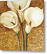 Coffee Painting - Flowers Metal Print by Rejeena Niaz