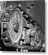 Cog And Chain In Rust Black And White Metal Print