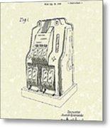 Coin Operated Casino Machine 1938 Patent Art Metal Print by Prior Art Design