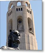 Coit Tower Statue Columbus Metal Print