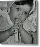 Colette 1 Year Old With 3 Eye Opend Metal Print