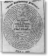 Collation Ticket, 1824 Metal Print
