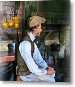 Colonial Man In Kitchen Metal Print