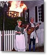 Colonial Musicians By Firelight Metal Print