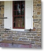 Colonial Shutters Window Frame Stone Wall Wood Box Metal Print
