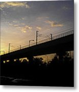Color Of Sunset Over Metro Pillar In Delhi Metal Print