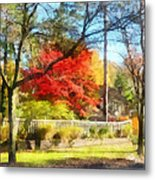 Colorful Autumn Street Metal Print