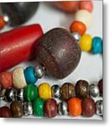 Colorful Beads In Chains Metal Print