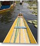 Colorful Boats On Dal Lake Dal Lake Metal Print
