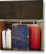Colorful But Worn Luggage Awaits Metal Print