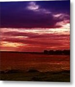 Colorful Clouds Over Ocean At Sunset Metal Print
