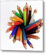 Colorful Crayons In Jar Metal Print