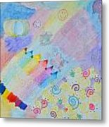 Colorful Doodling Original Art Metal Print
