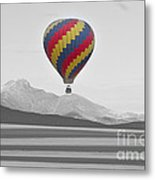Colorful Hot Air Balloon And Longs Peak Metal Print