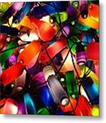 Colorful Lit Water Bottles Metal Print