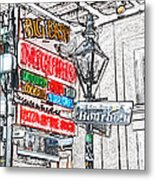 Colorful Neon Sign On Bourbon Street Corner French Quarter New Orleans Colored Pencil Digital Art Metal Print