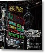 Colorful Neon Sign On Bourbon Street Corner French Quarter New Orleans Glowing Edges Digital Art Metal Print