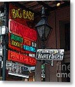 Colorful Neon Sign On Bourbon Street Corner French Quarter New Orleans Poster Edges Digital Art Metal Print
