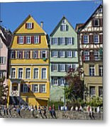 Colorful Old Houses In Tuebingen Germany Metal Print