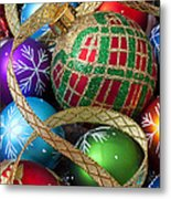Colorful Ornaments With Ribbon Metal Print
