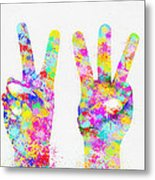Colorful Painting Of Hands Number 0-5 Metal Print by Setsiri Silapasuwanchai