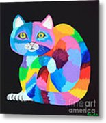 Colorful Rainbow Cat Metal Print