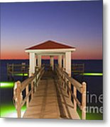 Colorful Sunrise With Fishing Pier At The Texas Gulf Coast Metal Print
