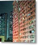 Colors Of A Housing Estate At Night Metal Print