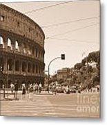 Colosseum In Sepia Metal Print