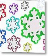 Coloured Snowflakes Isolated Metal Print