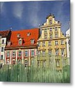 Colourful Buildings And Fountain Metal Print