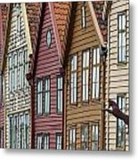 Colourful Houses In A Row Bergen Norway Metal Print