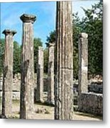 Columns At Olympia Greece Metal Print by Eva Kaufman