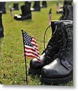 Combat Boots Are Placed In Formation Metal Print
