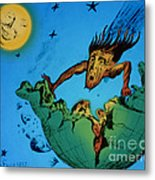 Comet Colliding With Earth Metal Print