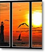 Coming Home Sunset Triptych Series Metal Print