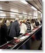 Commuters On Escalators In Prague Metro Metal Print