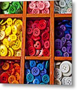 Compartments Full Of Buttons Metal Print by Garry Gay