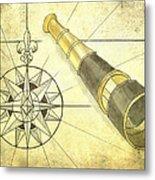 Compass And Monocular Metal Print