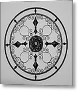 Compass In Black And White Metal Print