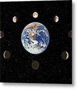Composite Image Of The Phases Of The Moon Metal Print