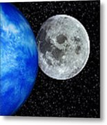 Computer Artwork Of Full Moon And Earth's Limb Metal Print