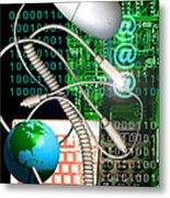 Computer Artwork Of Internet Communication Metal Print