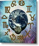 Computer Artwork Of The Zodiac Signs Around Earth Metal Print