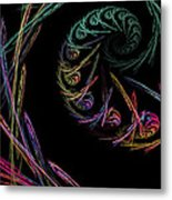 Computer Generated Abstract Fractal Flame Black Modern Art Metal Print